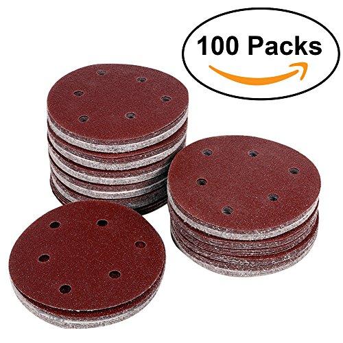 Pack 100 High Grade Sanding Discs For Random Orbital Sander, 8 Holes 5 Inch Sanding Discs, Sandpaper, Drywall Sanding Discs, 40 Grits