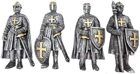 Nemesis Now koelkastmagneet middeleeuwse ridder zilverkleuriggoudkleurig 4 stuks
