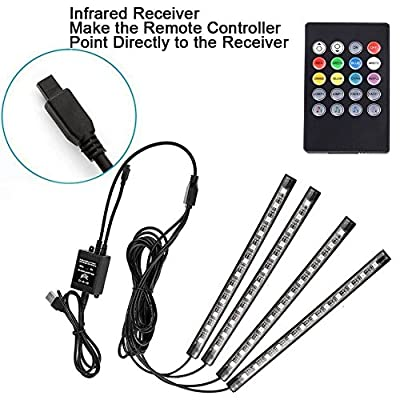 AveyLum USB LED Strip Lights Car Interior Music Sync Underdash Lighting Kit RGB Multicolor LED Tape Light with Wireless Remote Control for Truck Van Lorry Jeep Motorcycle(4X 8.66in: Electronics