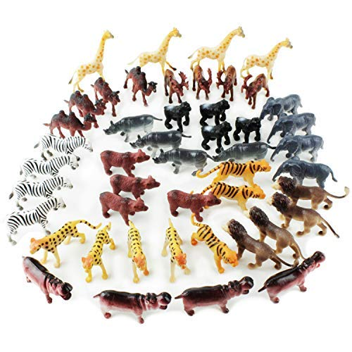 Boley 48 Piece Safari Toy Animal Figure Playset - Small Miniature Plastic Safari Animals - Great for Party Supplies, Stocking Stuffers, and Educational Projects!