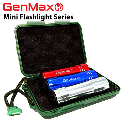 Aaa Minimag Black Flashlight (GenMax Pack of 3 Super Bright Mini Aluminum 9 LED Flashlights with Lanyard, Assorted Colors, Powered by AAA batteries (Not included), Best Torchlight for Trekking, Hiking, Fishing, Camping,)