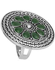 Aheli Oxidized Faux Green Stone Adjustable Traditional Finger Ring for Women Indian Gypsy Fashion Jewelry