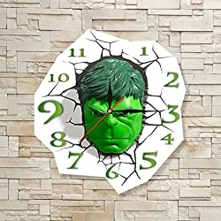 The Incredible Hulk 11.8'' Original Handmade Wall Clock - Get unique décor for home or office – Best gift ideas for kids, friends, parents and your soul mates
