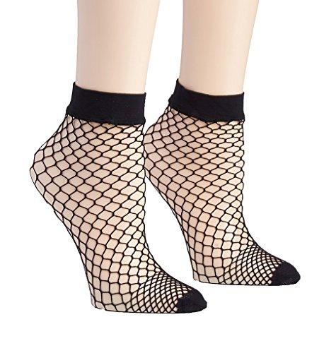 DKNY Women's Large Net Anklet Multipack, black, One Size ()