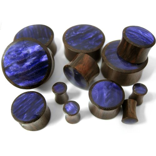 Urban Body Jewelry Pair of 4 Gauge Wood Plugs with Purple Resin Inlay (4G - 5mm) - Double Flare (WD066)