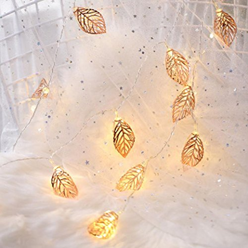 2M 10 Tress Leaves LED String Light, Dirance Indoor Outdoor Fairy Iron Night Light Lamp Festival Party Wedding Girl Bedroom Home Decor (Gold) by Dirance (Image #8)