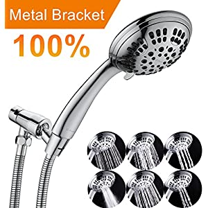 G-Promise High Pressure Shower Head Premium 6 Spray Setting Hand Held Shower Heads with Adjustable Solid Brass Shower Arm Mount Extra Long Flexible Stainless Steel Hose Chrome Finish