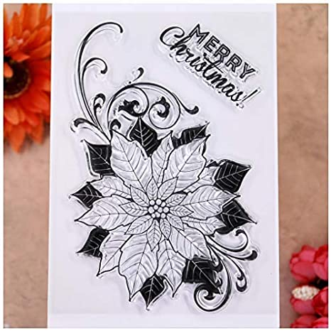 KWELLAM Merry Christmas Wreath Ribbons Flowers Leaves Clear Stamps for Card Making Decoration and DIY Scrapbooking