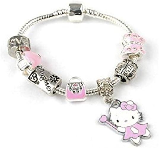 Zhanmai Unicorn Sparkly Pink Crystal Charm Bracelet Bangle with Gift Box Set for Girl Lady