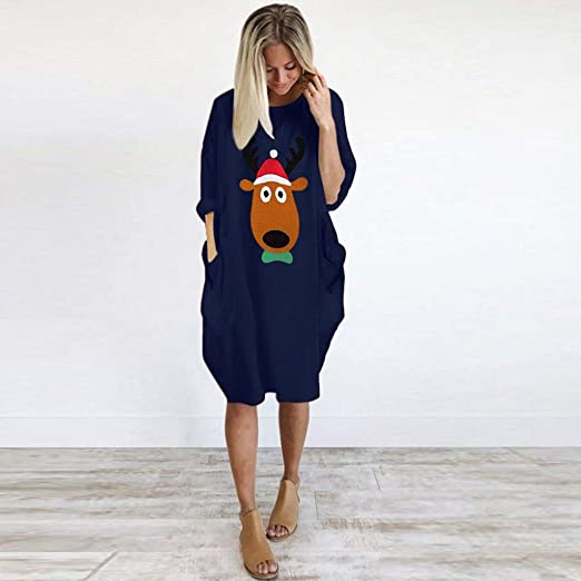 Gofodn sukienka bożonarodzeniowa dla kobiet, bardzo duża, długie rękawy, sweter, casual, luźna torba, okrągły dekolt, nadruk łosia, minisukienka, S-5XL: Odzież