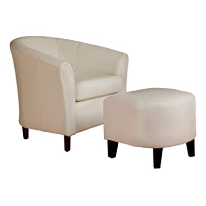 Best Selling Leather Club Chair And Ottoman Combo, White