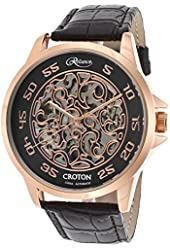 Croton Re306078rgbk Men's Reliance Auto Black Leather And Skeleton Dial Rose-Tone Case Watch