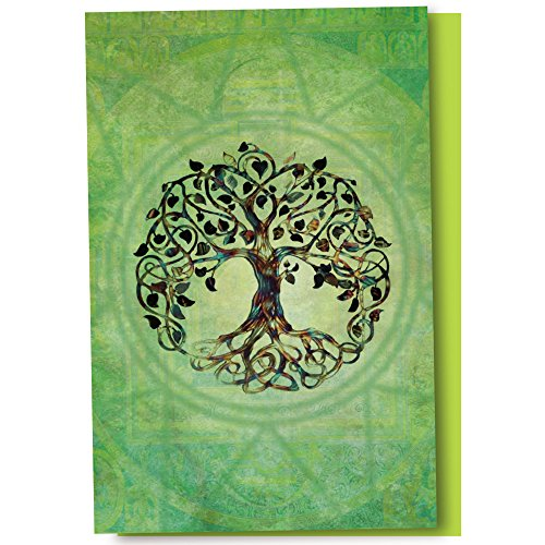 Tree-Free Greetings EcoNotes 12-Count Tree of Life Blank Notecard Set With Envelopes, All Occasion, New Age, Green (FS56951)