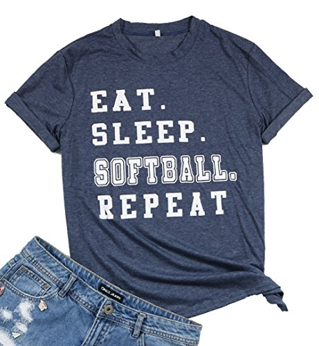 - LUKYCILD Eat Sleep Softball Repeat Player T Shirt Casual Letter Print Tee for Women Size XL (Grey)