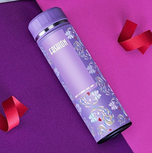 Purple Fashion Flower Bottle Insulated Flask Travel Mug For Lady 15Oz