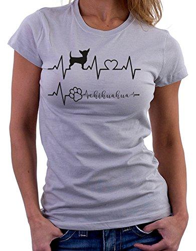 E Elettrocardiogramma Divertenti I Grigio Love Humor Cani Chihuahua Dog Simpatiche Tshirt q8dvxUU
