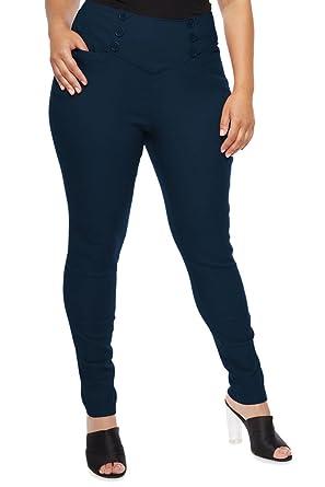 9bfef5790352 COCOLEGGINGS Womens Plus Size Back Zip Pocket Skinny Pants Navy Blue XL