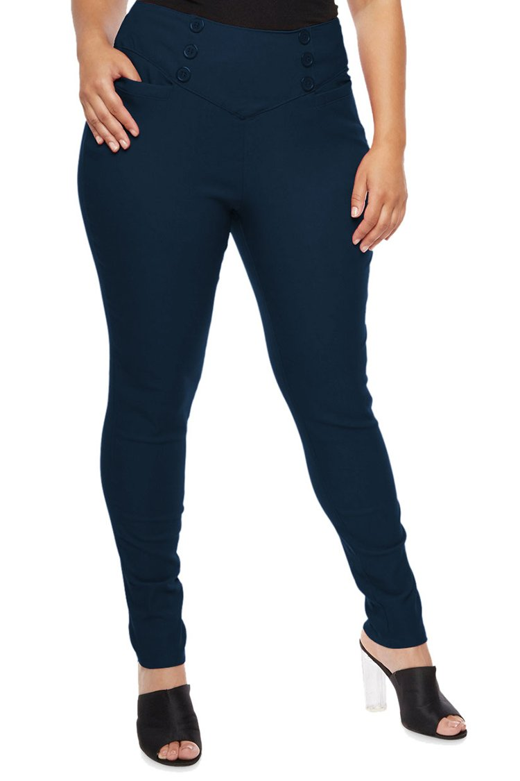 COCOLEGGINGS Womens Plus Size Stretch Business Millennium Pants Navy Blue 3XL by COCOLEGGINGS