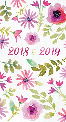 2018-2019 Watercolor Flowers 2-Year Pocket Planner