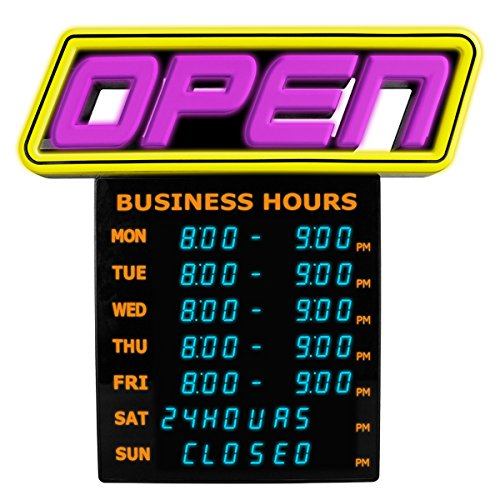 Greenlight Innovations Hours Open Sign Business & Store Sign (GLI 1057) by GreenLight Innovations