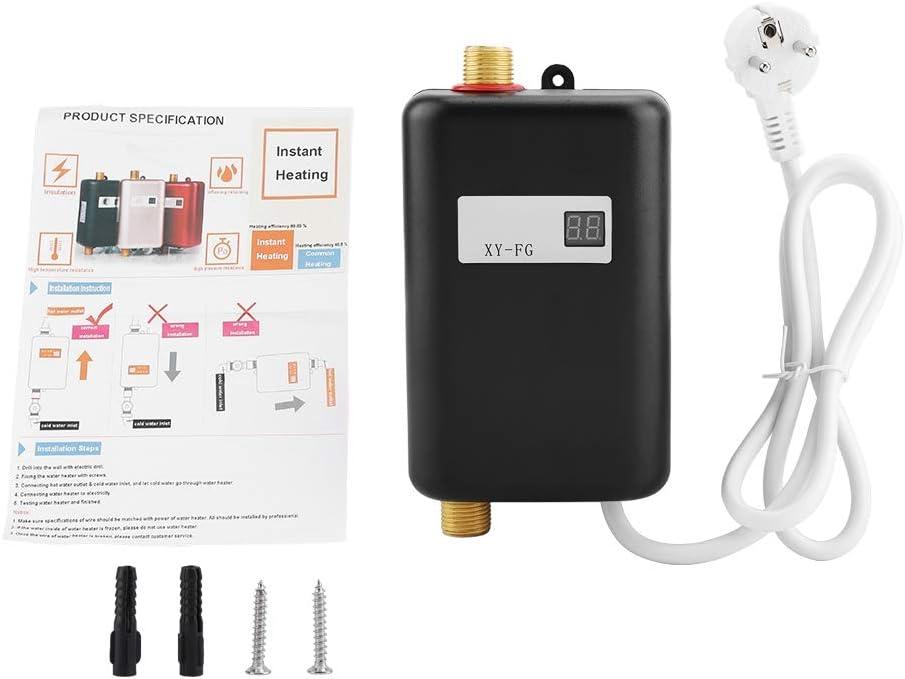 Garosa Calentador De Agua El/éctrico 220v 3000w Mini Sistema De Agua Caliente Instant/ánea Sin Tanque para Lavar La Cocina del Ba/ño Blanco