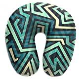 Raglan Carnegie Blue Maze Gaming Pattern Neck Head Support Travel Rest U Shaped Pillow for Airplane Train Car Bus Office