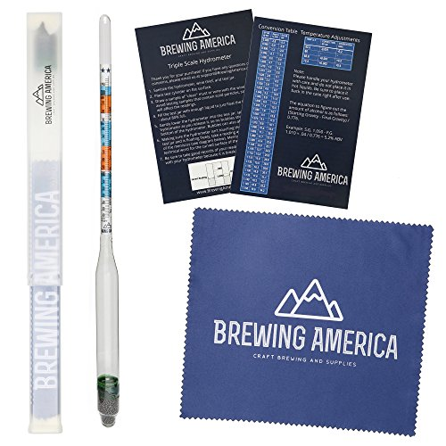 Specific Gravity Hydrometer Alcohol Tester - for Brewing ABV Testing: Beer, Wine, Cider, Mead Homebrew Fermented Beverages - Triple Scale Hydrometer by Brewing America Scale Hydrometer