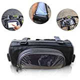 Reocahoo Bicycle Handlebar Bag Transparent Waterproof PVC Pouch Cycling Tube Bag Phone Bag Pannier with Removable Strap