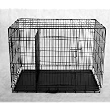 PawHut Large 42-Inch Two Door Folding Metal Dog Crate Cage Kennel including Divider, Black