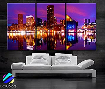 Large 30 x 60 3 Panels 30 x20 Ea Art Canvas Print Beautiful Baltimore Skyline Light Downtown Colorful Wall Home Office Decor Framed 1.5 Depth