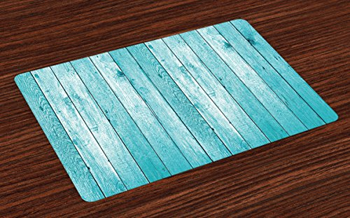 (Lunarable Turquoise Place Mats Set of 4, Aged Wooden Planks Theme Image Vertically Striped Surface Floor Rustic Design, Washable Fabric Placemats for Dining Room Kitchen Table Decor, Turquoise)