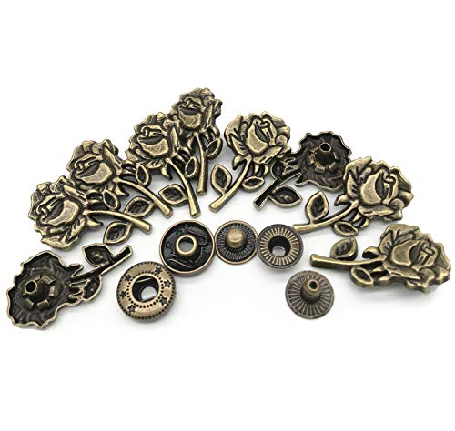 - 10 Set Bronze Vintage Antique Metal Snap Button Fastener, Rose Pattern Buttons, for Leather Craft DIY Overall Jacket, with Caps Sockets Studs
