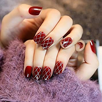 echiq vino rojo falso uñas manicura uñas postizas Ágata rojo plata brillante Cruz línea DIY decoraciones de uñas: Amazon.es: Belleza
