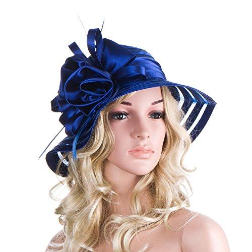 Womens Satin Church Wedding Kentucky Derby Sun Hat A214 (Royal Blue)