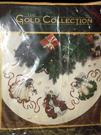 Christmas Counted Cross Stitch Tree Skirt The Gold Collection Mystical Angel