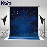 Kate 5×7ft Night Sky Backdrop Moon Stars Background Cotton Cloth Photo Studio Props for Kids Children Photography Decoration
