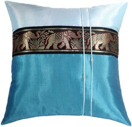 SALE 80% OFF Artiwa Blue Throw Decorative Silk Pillow Cover 16x16 inch Large Thai Elephants Stripe (Thai Pillow Throw Silk)