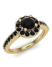 1 ctw Halo Setting Black Diamond Ring 14K Gold