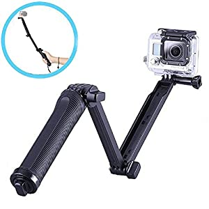 3-Way Selfie Stick, Walway Foldable Extendable Handheld Grip Arm Monopod Pole Tripod for GOPRO HERO 6/ 5/ 5 Session/ 4 Session/ 4/ 3+/ 3/ 2/1 and Action Cameras with Long Handle Screw