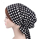 Vintage Women Cotton Head Scarf Chemo Cap Bowknot Turban Head wrap (Black dot)