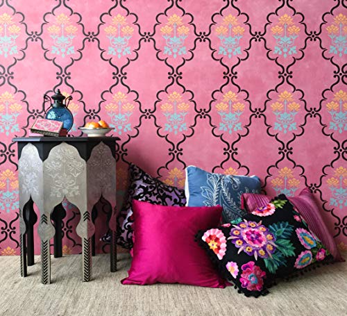 Raj Trellis Boho Chic Decor Wall Stencil for Painting Indian Style Wallpaper Design (Indian Wallpaper)