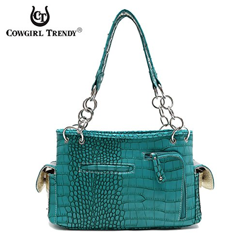Bag Shoulder Satchel Concealed Turquoise Metal Carry Handbag Guns Double Western OUZBvw7qw