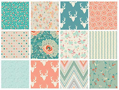 Teal and Coral Woodland Quilt Bundle | Rapture by Pat Bravo and Hello Bear by Bonnie Christine | Forest Quilt Fabric with Deer and Flowers | Art Gallery Fabrics | ()