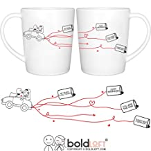 "BOLDLOFT ""Happily Ever After"" His & Hers Wedding Coffee Mugs-Wedding Gifts for the Couple,Wedding Gifts for Bride and Groom,Newlywed Gifts,Engagement Gifts for Couples, Bridal Shower Gifts"