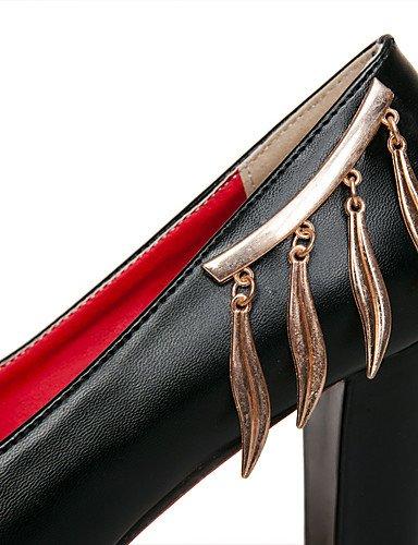 GGX/ Frauenschuh-PU-Sommer / runde Zehe Absatzbüro&Karriere / beiläufige klobige Ferse Paillette / Kette schwarz / rot / beige black-us5 / eu35 / uk3 / cn34