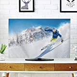 LCD TV Cover Multi Style,Winter,Skier Skiing Downhill in High Mountains Extreme Winter Sports Hobbies Activity Decorative,Customizable Design Compatible 42'' TV