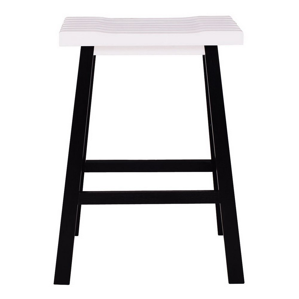 24'' Barstool Wood Bar Stools Pub Seat Bar Chair Set of 2 for Kitchen Breakfast Counter Bar Coffee Shop (black & white)