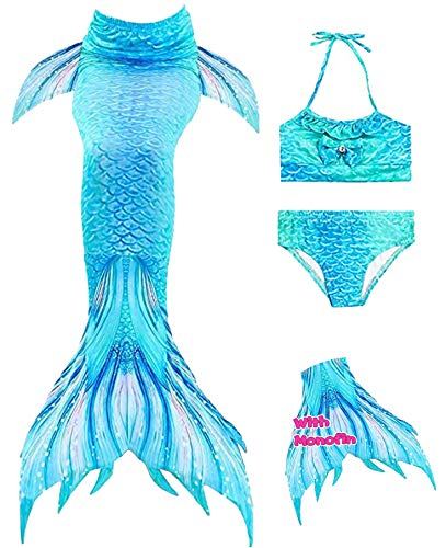 YITU Mermaid Tails for Swimming - Princess Bikini Swimsuit with Monofin 4pcs Sets, Swimwear for Girls - W-Blue green-140