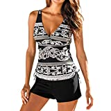 Womens Sexy Tankini Swimsuit Set,Two-Piece Wrap Print Push-up Padded Side Tie Swimwear Shorts Pants Bottom Bathing Suit
