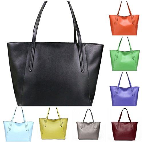 Matt Lady's Women's Tote Colors Shoulder Leather Large Cow Matt Bag 22 Black Stylish Handbag Work Green Casual Fashinable Grass 60Ywx5n